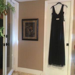 Long Black Gown with Rhinestone brooch